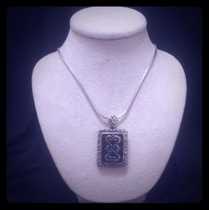 """2"""" Square Silver Engraved Pendent"""